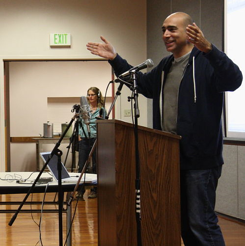 Ali Abunimah responds to a question from the audience at the Olympia Center on Tuesday 31 August 2010