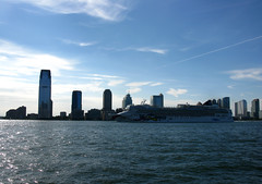 2010 08 14 - 8966 - NYC - Hudson River from Battery Park (thisisbossi) Tags: nyc newyorkcity urban usa ny newyork buildings boats us newjersey jerseycity skyscrapers unitedstates manhattan ships towers nj cityscapes skylines batterypark watercraft cruiseships cruiseliners cruiseboats