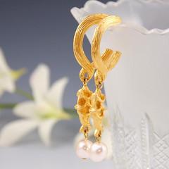 Vintage Richelieu Gold Pearl and Fish Earrings - 543 (Wilson & Teal) Tags: vintage jewlery etsy karmalings