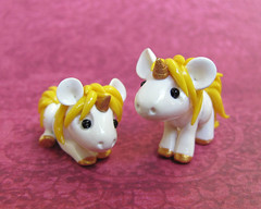 Yellow Baby Unicorns (DragonsAndBeasties) Tags: sculpture cute yellow statue gold rainbow magic tail small chibi polymerclay fimo fantasy butter gift tiny kawaii sculpey etsy custom figurine unicorn mane buttercream premo ittybitty