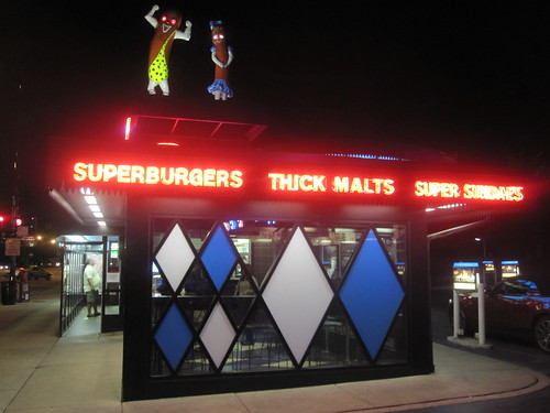 Superdawg at night