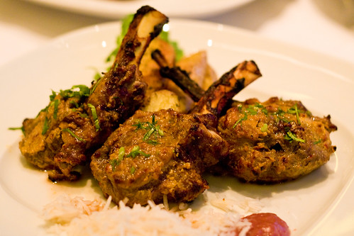 Achari Hiran Ki Chhampen (venison chops in pickle marinade with roasted chickpea flour and hung yogurt), Tamarind Tribeca