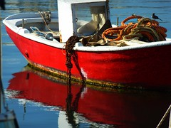 Boat and ropes (Marite2007) Tags: ocean blue red sea water islands marine mediterranean harbour aegean picture vivid reflected maritime cyclades