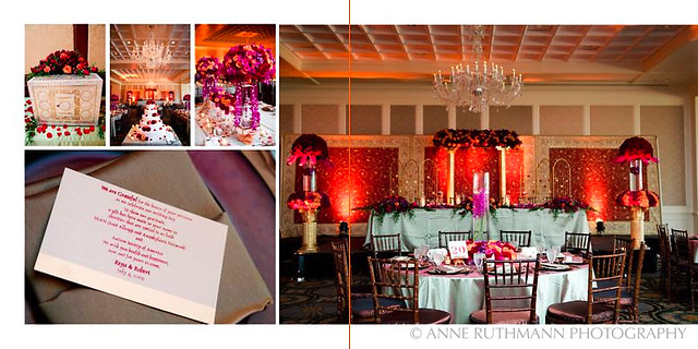 Purple Pink Red Gold Wedding Reception Detail