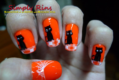 Nail Art Halloween Black Cats 03