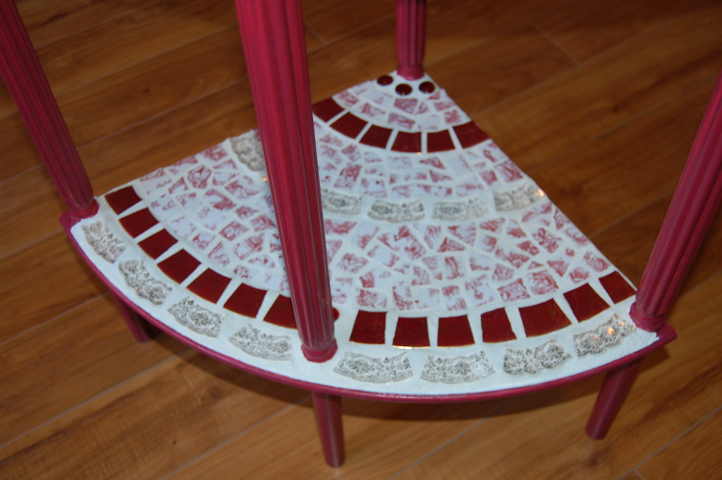Red Toile French Country Mosaic Table
