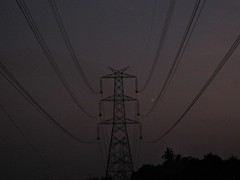 Cable Perspective (Kumaravel) Tags: tower silhouette canon lowlight perspective cables powercable wiretower nigthtshots hangingcables 95is canonixus95is canondigitalixus95is shensfarm