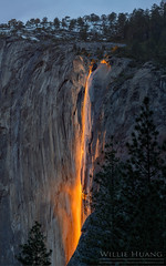 Fire Falls (Willie Huang Photo) Tags: nationalpark yosemite elcapitan horsetailfalls firefalls absolutelystunningscapes
