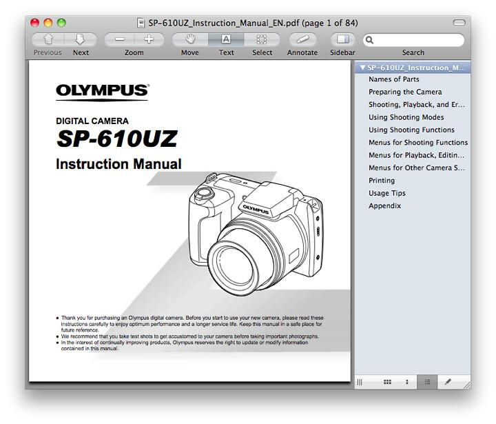Olympus SP-610UZ Manual
