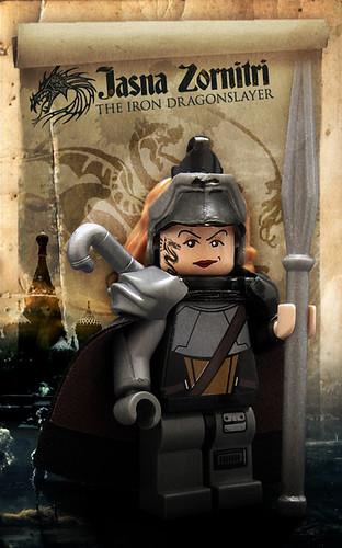 Custom minifig Jasna Zornitri, the Iron Dragonslayer
