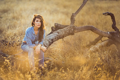 Waiting (pu1se) Tags: headshots outdoor ralphlauren straw trees valenciapark beautiful beauty sexy seductive goldenhour golden wood portrait