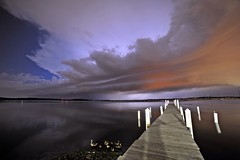 Late Night Supercell (Kirby Wright) Tags: lake mendota madison wisconsin dane county universityofwisconsinmadison memorial union docks pier ducks water sky clouds supercell striated shelf shear wind rain lightning cloud long exposure weather severe storm rotation base nikon d700 rokinon 14mm f28 28 manfrotto