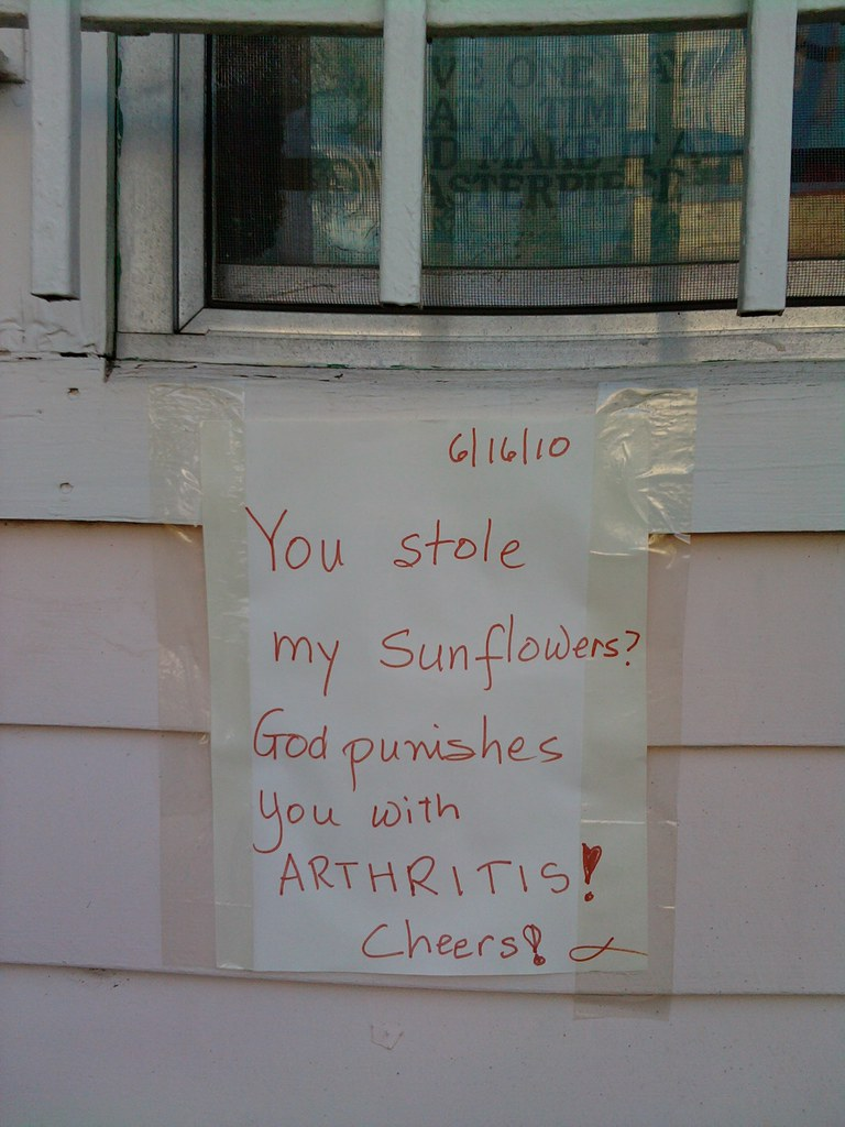 You stole my sunflowers? God punished you with ARTHRITIS! Cheers!