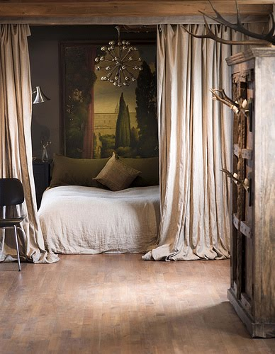 be surrounded by curtains, chandelier above bed, romantic beds, enchanted bedrooms, antlers, rustic chic, romantic bedroom+bed with curtain