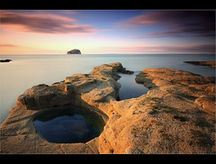 Pools towards Bass Rock. (Devilineden) Tags: sunset sea bw bird rock digital photoshop canon eos photo long exposure bass 10 north sigma east professional seacliff forth stop filter lee nd 20mm dslr 1020mm filters berwick colony gannets lothian firth 10mm gnd 50d cs5 devilineden faderfilters faderfilters