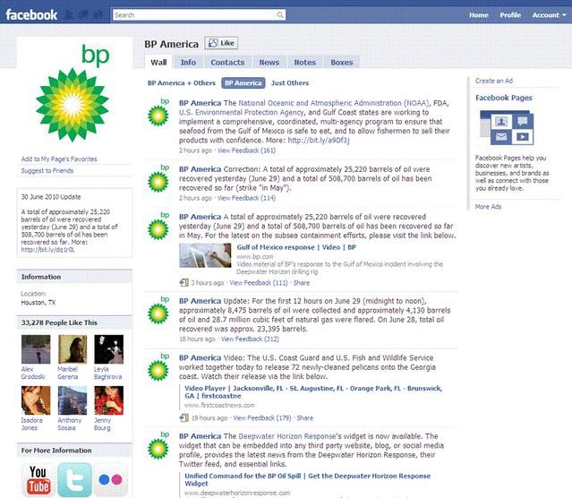 BP on Facebook