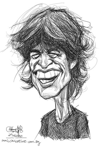 digital sketch study of Mick Jagger - 1
