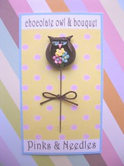 chocolate owl and bouquet pin topper (Pinks & Needles (used to be Gigi & Big Red)) Tags: flowers mushroom woodland blossom chocolate polkadots kawaii owl bouquet pincushion etsy gigiminor pinksandneedles pinksneedles