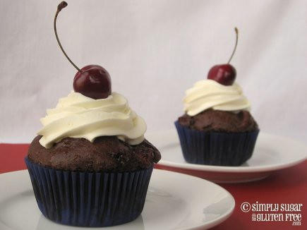 Chocolate Cherry Cupcakes with Whipped Cream Cheese Frosting