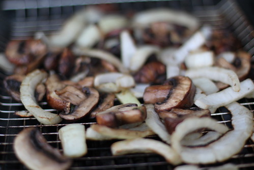4753764929 fc1f19e038 #GirlsGrillToo Cooking Experiment #1: Veggie Burger, Onions/Mushrooms, Asapargus, and Hamburgers