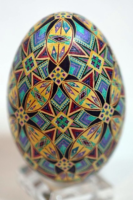 Pysanky with African Kente Cloth Pattern in Blue, Yellow, Purple, Red