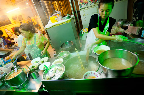 Par-boiling noodles at Sawang,  a noodle restaurant near Bangkok's Hualamphong Train Station