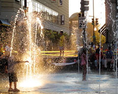 Fountain of Sunlight (Mr.TinDC) Tags: plaza light summer people sunlight playing fountain kids children fun washingtondc dc joy explore dcist fountains columbiaheights civicplaza splashing explored