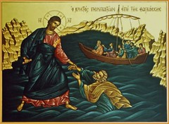 Christ saving Peter on the water.