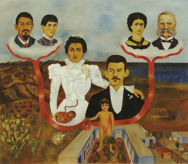 a painting of a family tree depicting Frida Kahlo's maternal and paternal grandparents, her parents, and herself as a child. Her parents are depicted in wedding clothes, there is a fetus inscribed within her stomach. The background is a desert meeting the sea, with an interior home scene in the foreground.