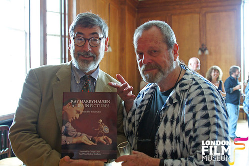London Film Museum: John Landis & (still not a Sir yet) Terry Gilliam enjoying Harryhausen's Mythys and Legends Exhibition launch and Birthday