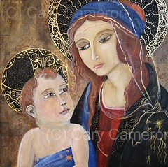 Madonna and Child (lunaglow78) Tags: wood original newmexico saint painting artist child framed madonna mary halo picnik madonnaandchild boticelli woodcanvas mothermary coollage carycameron