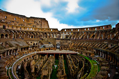 When in Rome (CatfishSoup) Tags: old blue sky people italy white motion black blur rome green car yellow person rainbow movement alone skies ride go colosseum stop stuff round persons locations