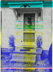Glitch Art: Bleeding man dragged himself to this door to die. (eaubscene) Tags: highresolution hires pulp tabloid crimescene corrupted truecrime 2362 sceneofthecrime glitchart truedetective databending factdetective fivestardetective