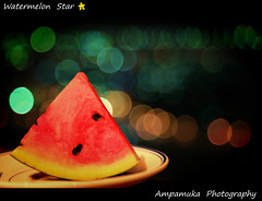 Watermelon Star /  (AmpamukA) Tags: park red color green beautiful star dish bokeh watermelon quarter pattaya        totallythailand ampamuka