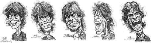 digital sketch studies of Mick Jagger