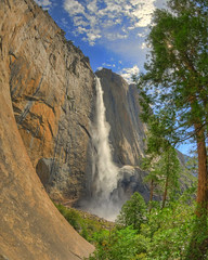 Upper Yosemite Falls (Michael T. Gieseking) Tags: california mountain creek nationalpark nikon glacier fisheye valley yosemite redwood sequoia hdr