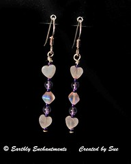 SER17B  PINK HEARTS & AMETHYST (Style By Sue) Tags: pink original classic hearts beads wire women purple unique oneofakind handcrafted earrings amethyst dangle beaded gem semiprecious gemstone rosequartz highquality goldfilled 2inch 14kt glasshandmade woman'searrings
