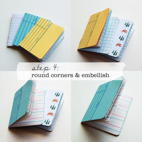 make these little library card notebooks paper and stitch