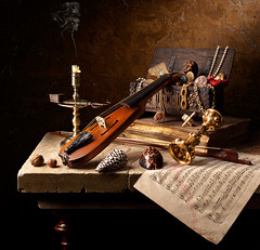 Still Life with Jewel Box (kevsyd) Tags: music coral candle violin pochette tarotcard giltcup kevinbest dutchstilllife
