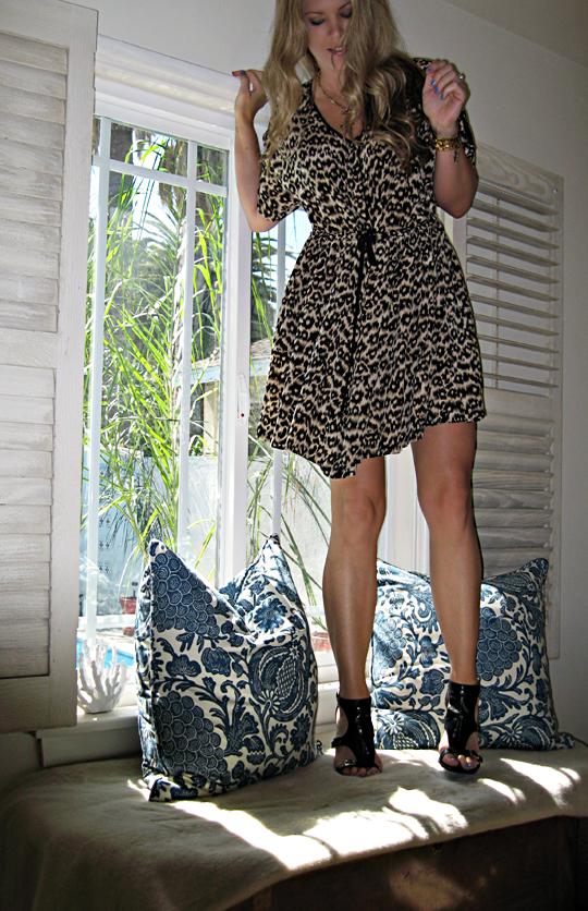 leopard dress+barclay butera pillows+master bedroom - sharp
