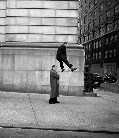 Geof Kern, Untitled man leap-froggin over another man, 1999