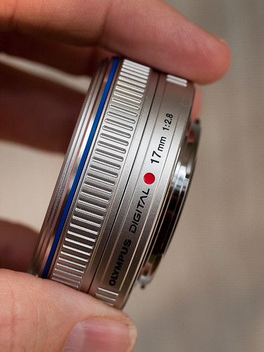 Holding the M.Zuiko 17mm pancake for mounting