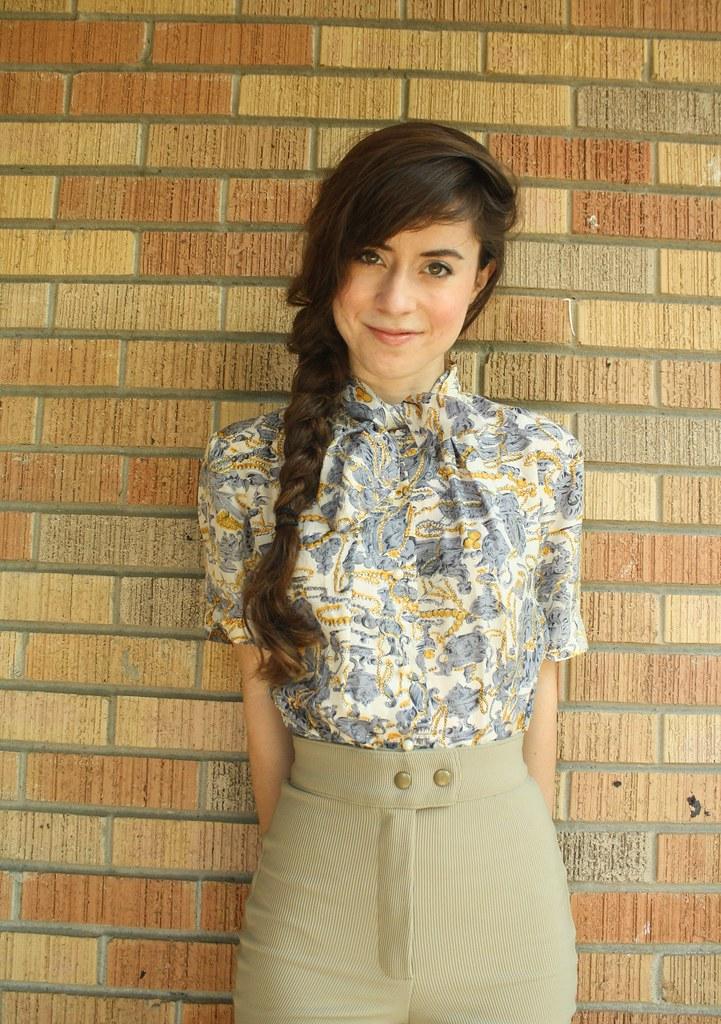 1940's silk bow blouse