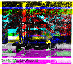 Glitch Art: The cellar window of this pleasant, tree-shaded home opened into a makeshift tomb. (eaubscene) Tags: highresolution hires pulp tabloid crimescene corrupted truecrime sceneofthecrime glitchart truedetective databending factdetective