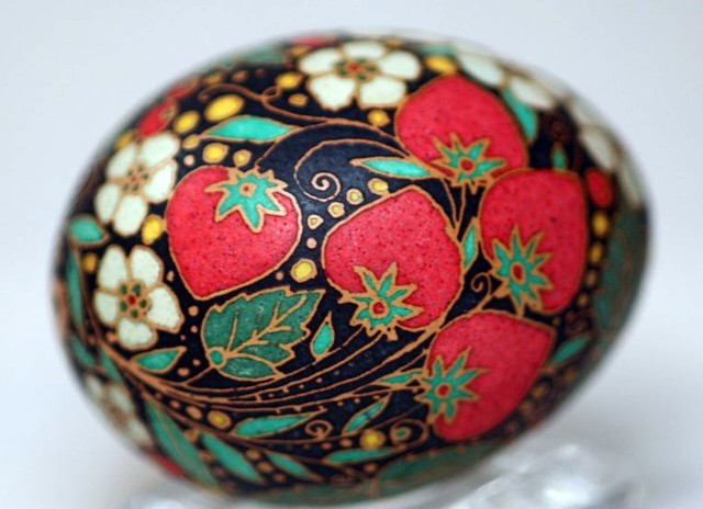Strawberry Fields Pysanky in Red, White and Black