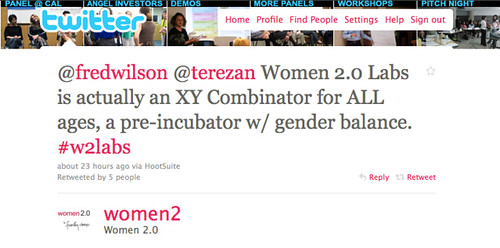 Women 2.0 Labs is actually an XY Combinator for ALL ages, a pre-incubator w/ gender balance