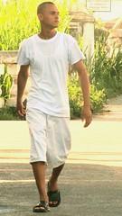 Jus' Struttin' (Legin_2009) Tags: road street man male men guy walking walk sandals guys cargo flipflops males shorts teeshirt slippers mnner hombres mec  mecs  gason cargoshorts    braghettoni hommes homens
