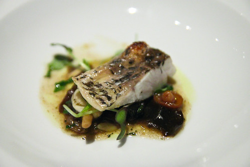 Grilled Fillet of Barramundi with Braised Wood Ear & Chestnut Mushrooms