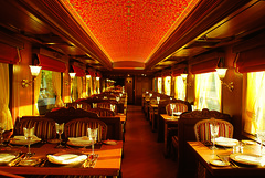 Maharajas' Express - Rang Mahal, dining (Train Chartering & Private Rail Cars) Tags: indiantrain privatetrain privaterailcar chartertrain traincharter trainchartering privatecarriage luxurytravel luxurytrain luxurytrainclub indianluxurytrain maharajasexpress