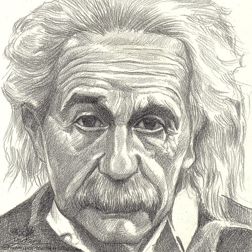 Pencil portrait of Albert Einstein